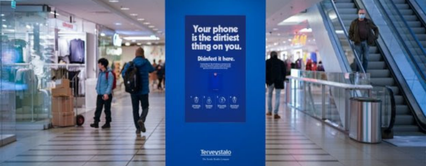 Finland Billboards Now Double as Disinfectant Terminals for Mobile Phones